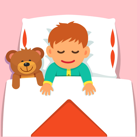 Baby boy sleeping with his plush teddy bear toy. Flat style vector cartoon illustration isolated on pink background.
