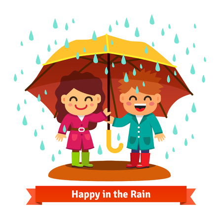 Boy and girl standing in the rain under one big umbrella. Child love concept. Flat style vector cartoon illustration isolated on white background.のイラスト素材