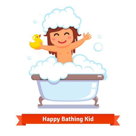 Happy baby girl taking bath with yellow duck toy and lots of foam bubbles. Flat style vector cartoon illustration isolated on white background.