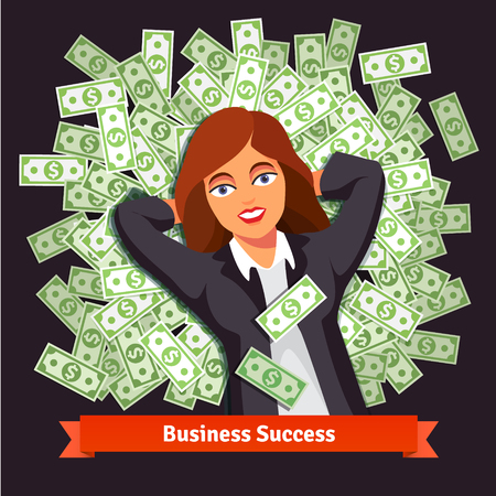 Business woman in suite lying on a bed pile of green dollar cash. Success and wealth concept. Flat style vector illustration isolated on black background.