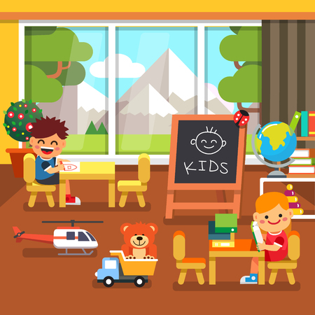 Modern kindergarten playroom with great mountains view in the window. Kids sitting and playing in the classroom. Flat style cartoon vector illustration with isolated objects.