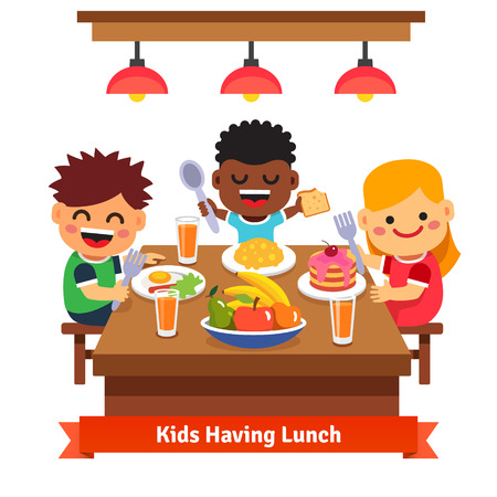 Children having dinner at the kindergarten of home. Kids eating and smiling. Flat style cartoon vector illustration isolated on white background.