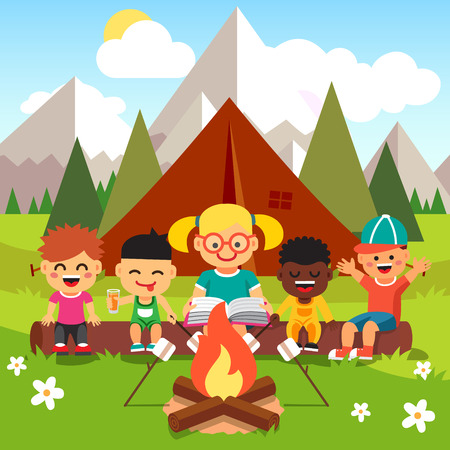 Kindergarten kids camping in the forest near big mountains. Children sitting and listening to a teachers reading a book near the fire. Flat style cartoon vector illustration with isolated objects.