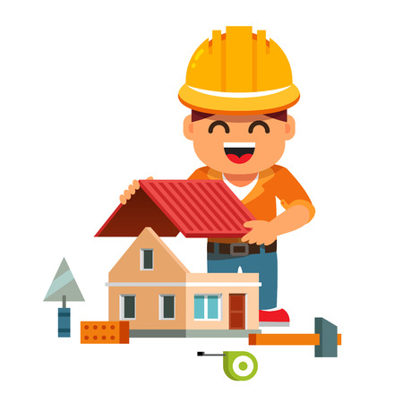 Young smiling house builder in hardhat building home and mounting new roof. Flat style cartoon vector illustration isolated on white background.