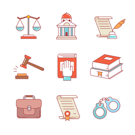 Legal, law, lawyer and court thin line icons set. Modern flat style symbols isolated on white for infographics or web use.