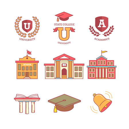 Illustration pour Mortar board, education, school, academy, college and university, library emblems and buildings. Thin line icons set. Modern flat style symbols isolated on white for infographics or web use. - image libre de droit