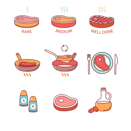 Steak pan frying and cooking icons thin line set. Rare, medium and well done, oil. salt and pepper, meat on the plate. Flat style color vector symbols isolated on white.