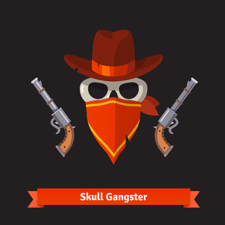 008801e7759 Skull gangster in stetson hat with two revolver guns. Flat style vector  illustration isolated on. Cowboy Illustration Design