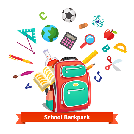 Illustration pour Back to school. Student backpack exploding with education objects. Flat style vector illustration isolated on white background. - image libre de droit