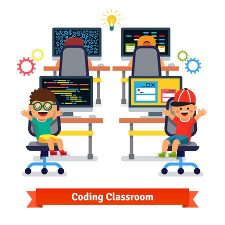 Illustration pour Kids learning to code and program in software engineering science class. Flat style vector illustration isolated on white background. - image libre de droit