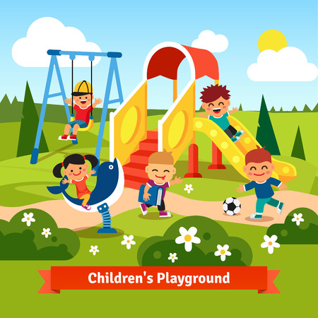 Kids playing on playground. Swinging and sliding children. Flat style vector cartoon illustration.