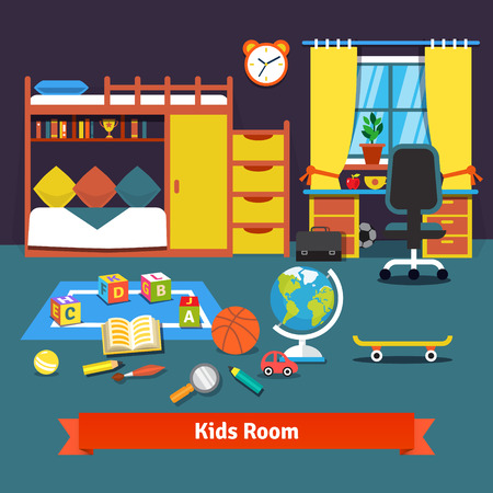 Two kids room with bunk bed, cupboard, desk, chair and toys on the floor. Flat style vector cartoon illustration.