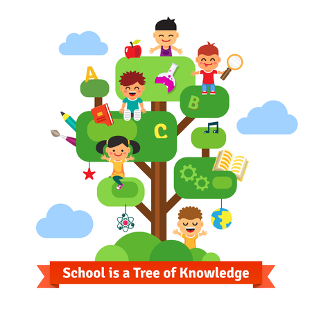 School tree of knowledge and children education. Happy kids sitting and learning on a tree full of books and science, arts and crafts stuff. Flat style vector cartoon.