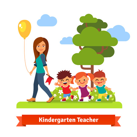 Young kindergarden teacher walking in park with kids holding hands in trail. Flat style vector cartoon illustration.