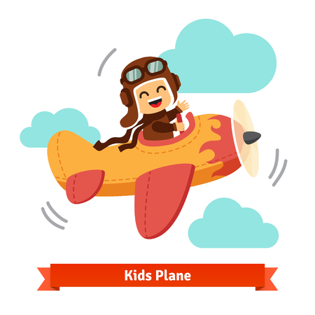Illustration pour Happy smiling kid flying plane like a real pilot in retro leather flight helmet. Flat style cartoon vector illustration. - image libre de droit