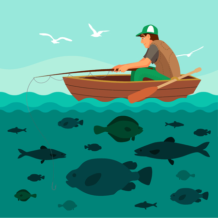 Man fishing on the boat. Lots of fish in the sea and seagulls in the sky. Flat vector illustration.