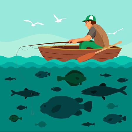 Ilustración de Man fishing on the boat. Lots of fish in the sea and seagulls in the sky. Flat vector illustration. - Imagen libre de derechos