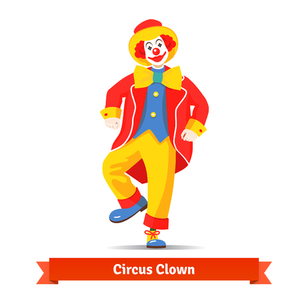 Dancing circus clown vector illustration isolated on white background.