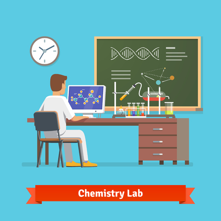 University student doing research in chemistry lab. Looking at molecular structure of chemical compound received in experiment. Flat vector illustration.