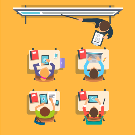 Illustration pour Teacher standing and pointing at the modern interactive whiteboard teaching in front of the children sitting at the desks in classroom. Flat vector isolated illustration. - image libre de droit