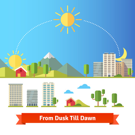 Scenic view of city and rural landscape. All day from dawn and noon till night.のイラスト素材