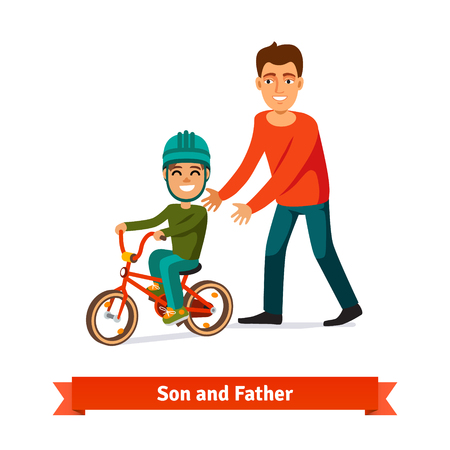 Father teaching son to ride a bicycle. Parenting concept. Flat style vector illustration.のイラスト素材