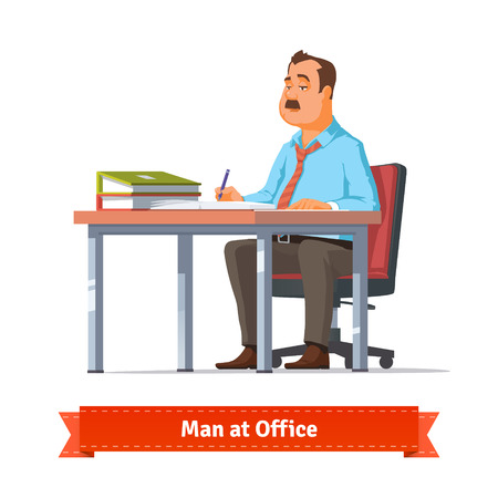 Illustration pour Man writing at the office table. Flat style illustration or icon. EPS 10 vector. - image libre de droit