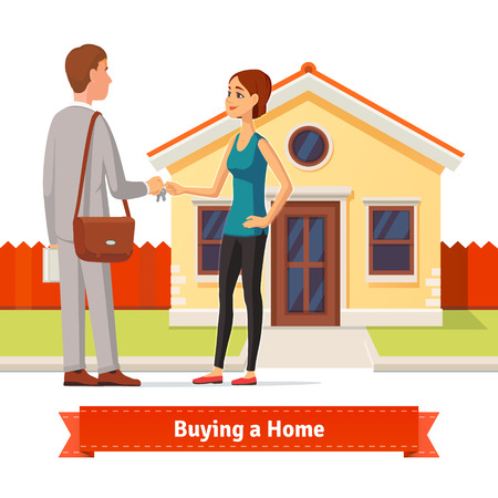Vektor für Woman buying a new house. Real estate agent giving a home key chain to a confident lady buyer. Flat style illustration or icon. EPS 10 vector. - Lizenzfreies Bild