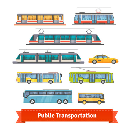Illustration for City and intercity transportation vehicles icon set. Trains, subway, buses and taxi. Flat style illustration or icon. EPS 10 vector. - Royalty Free Image