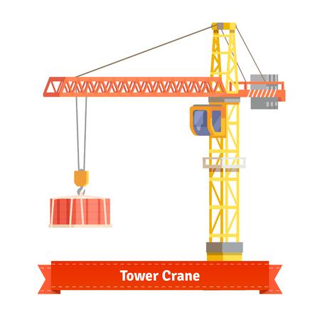 Ilustración de Tower crane lifting building materials on the hook. Flat style illustration. EPS 10 vector. - Imagen libre de derechos