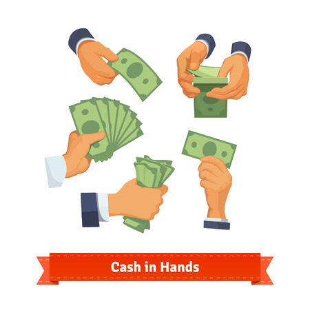 Illustration for Hand poses counting, giving, taking, squeezing and showing green cash. Flat style illustration. EPS 10 vector. - Royalty Free Image