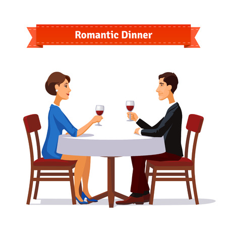 Illustration pour Romantic dinner for two. Man and woman holding glasses of whine. Table with white cloth and two chairs. Flat style illustration. EPS 10 vector. - image libre de droit