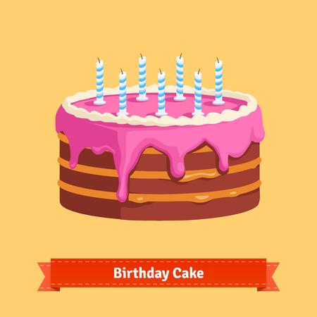 Vektor für Homemade birthday cake with a pink frosting. Flat style illustration. EPS 10 vector. - Lizenzfreies Bild