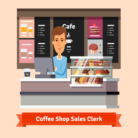 Young shop assistant serving a cup of coffee at the cashier desk. Flat style illustration. EPS 10 vector.