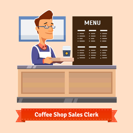Young shop assistant serving a cup of coffee at the cashier desk. Flat illustration. EPS 10 vector.