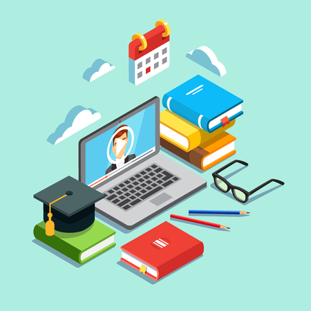 Photo pour Online education concept. Laptop with opened text document next to stacked books, mortar board student cap, pencils and glasses. Flat style vector illustration isolated on cyan background. - image libre de droit