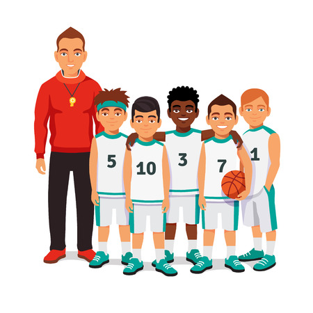 Ilustración de School boys basketball team standing with their coach. Flat style vector illustration isolated on white background. - Imagen libre de derechos