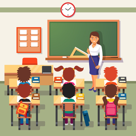 Illustration pour School lesson. Little students and teacher. Classroom with green chalkboard, teachers desk, pupils tables and chairs. Flat style cartoon vector illustration. - image libre de droit