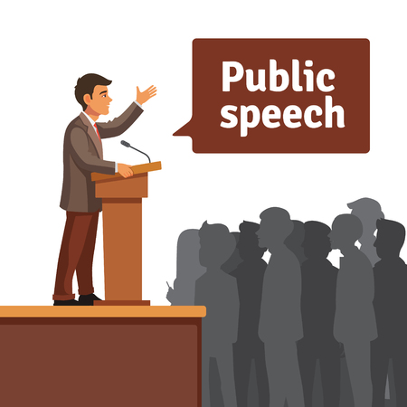 Illustration pour Public speaker standing behind rostrum speaking to gathered public. Flat style vector illustration isolated on white background. - image libre de droit