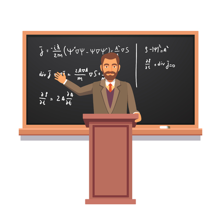 Illustration pour University professor standing at the rostrum in front of backboard with formulas giving a lecture on quantum physics. Flat style vector illustration isolated on white background. - image libre de droit