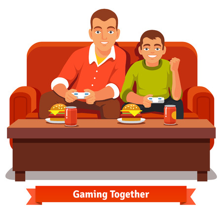 Father and son playing video games on red sofa and having a meal. Big and small brother. Flat style vector illustration isolated on white background.のイラスト素材
