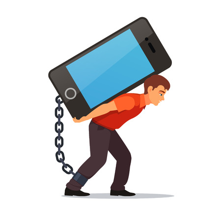 Bended man carrying on his back big and heavy mobile phone chained with shackles to his leg. Modern technology burden concept. Flat style vector illustration isolated on white background.