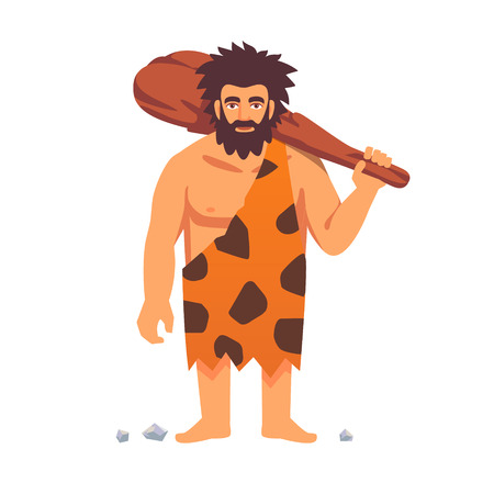 Illustration pour Stone age primitive man in animal hide pelt with big wooden club. Flat style vector illustration isolated on white background. - image libre de droit