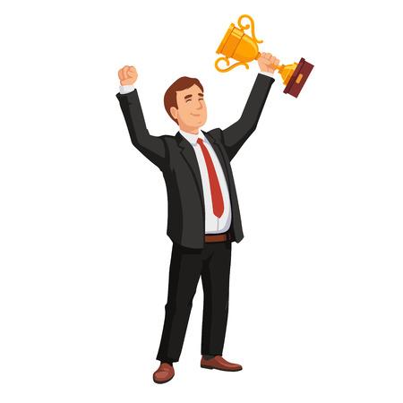 Illustration pour Celebrating businessman holding winner cup trophy. Business achievement concept. Flat style vector illustration isolated on white background. - image libre de droit