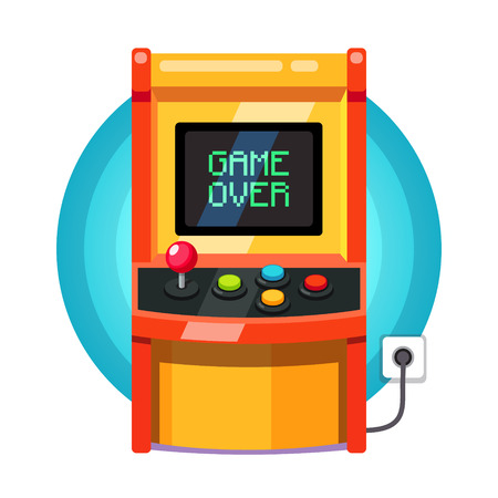 Retro arcade machine plugged in with pixel game over message. Flat style vector illustration isolated on white background.