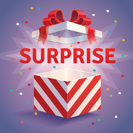 Ilustración de Opened surprise gift box. Red striped and bow tied confetti explosion. Flat style vector illustration isolated on violet background. - Imagen libre de derechos