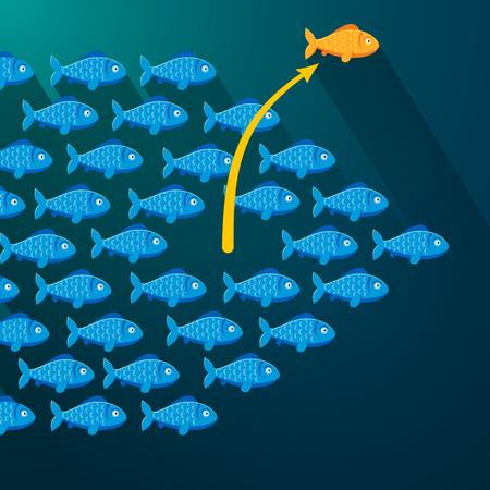 Vektor für Independent fish break free from its shoal. Entrepreneur concept. Flat style vector illustration. - Lizenzfreies Bild