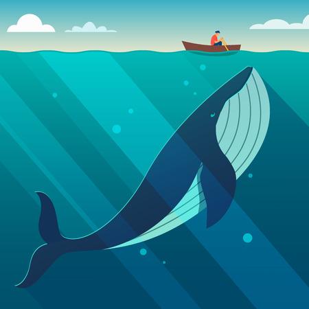 Ilustración de Huge white whale under the small boat. Hidden power concept. Flat style vector illustration. - Imagen libre de derechos