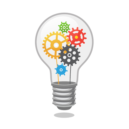 Illustration pour Bright idea light bulb with cogs. Flat style vector illustration isolated on white background. - image libre de droit