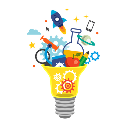Illustration pour Light bulb bursting with cogs and ideas. Education concept. Flat style vector illustration isolated on white background. - image libre de droit